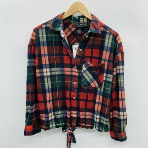 Polly & Esther Drawstring Tie-Front Plaid Top 897
